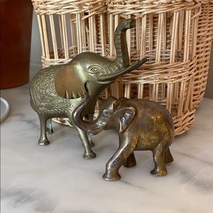 Vintage Pair Brass Elephants